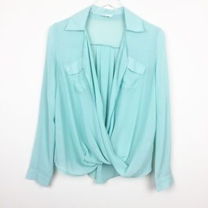 Tobi | Turquoise Open Crossover Blouse